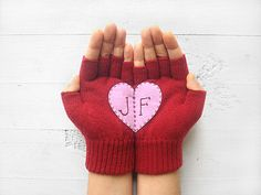 VALENTINES DAY GIFT, Personalized, Monogram Gloves, Romantic Gift, Heart Gloves, Deep Red, Pink, Initials, Customize, Hearts, Special  A special