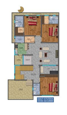 10 Marla House Plan, My House Plans, Bungalow House Plans, Family House Plans, Double Bed Designs, Story Planning, Architectural House Plans, House Map, Double Beds