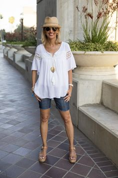 """On the blog today """"Red White and Blue Ready for the 4th of July"""" featuring our Blue and White Kimono, White Peasant Blouse, Scarlet Cold Shoulder Top and a few gold jewelry peices - ALL PART OF OUR 24-HR FLASH SALE! . Get 15% off all featured items with code FS627 plus Free US Shipping www.jacketsociety.com"""