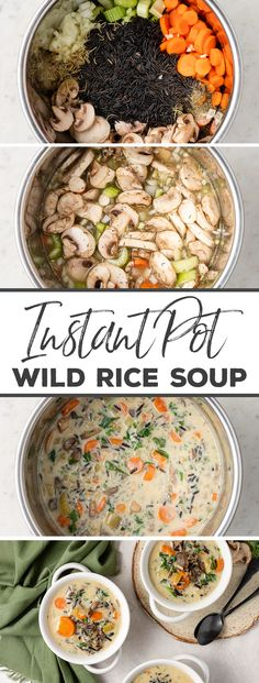 Creamy Instant Pot Wild Rice Soup MY ENTIRE FAMILY LOVES THIS SOUP. Creamy wild rice soup made in the Instant Pot with mushrooms and lots of veggies. Easy and delicious and healthy! An absolute must save! Wild Rice Soup, Instant Pot Dinner Recipes, Recipes Dinner, Instant Pot Soup Recipe, Vegetarian Recipes Instant Pot, Lunch Recipes, Pressure Cooker Recipes, Family Meals, The Best