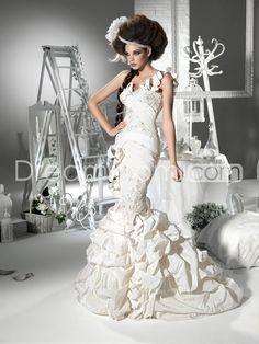 Graceful Sweetheart One Shoulder Trumpet/Mermaid Floor-length Chapel Ruffling Wedding Dresses