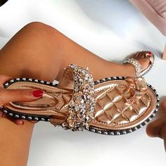 Mascori Embellished Open Toe Slippers (Ship in 24 Hours) Bling Sandals, Bling Shoes, Cute Sandals, Sandals For Sale, Boho Sandals, Peep Toe Flats, Open Toe Sandals, Studded Loafers, Ankle Strap Wedges