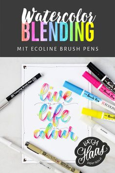 Step-by-step Guide to Watercolor Blending with Ecoline Brush Pens . Coloring Brush Pen, Brush Pen Art, Watercolor Brush Pen, Watercolor Lettering, Hand Lettering Art, Hand Lettering Tutorial, Lettering Brush, Brush Letters, Koi