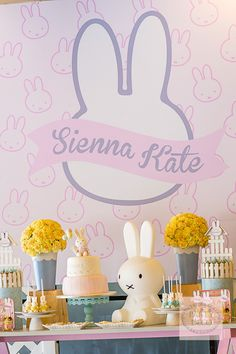 Miffy Dessert Table   http://babyandbreakfast.ph/2015/07/27/miffy-bunny-bash/   Photo and Styling: Party Deco