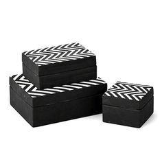 Limited Production Design: Set of 3 Classic 1950's Inspired Black & White Chevron Boxes * Largest 8 x 6 x 3 inches * Available Individually If Required