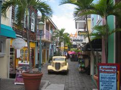 Downtown Phillipsburgh St Maarten. This is not one of my personal photos, however the yellow building on the left is an AWESOME Dutch chocolate shop we went to. Oh my, it was GOOD!!!