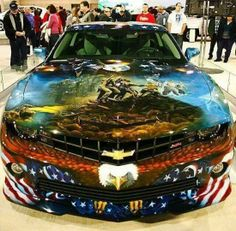 American Pride Camaro SS at the Philadelphia Auto Show Car Paint Jobs, Auto Retro, Sweet Cars, Car Painting, American Pride, American Flag, American Muscle Cars, Chevrolet Camaro, Amazing Cars