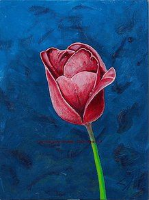 """Love Tulip""  * Copyright Dave Herrling - Third Culture Art (2012).  * Original painting - $1,375.  12"" x 9"" Acrylic/ Enamel Pen on Canvas Board.  * Digital copy - $95. (+ shipping)  20"" x 16"" Gallery-wrapped Digital photo on high-quality textured paper, lightweight, easy to hang frame."