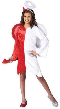 Our Naughty and Nice Angel Devil Girl's Costume is the perfect costume a fun Halloween trick-or-treating adventure. The Naughty and Nice Angel Devil Costume includes a red & white velvet dress. Red side has a devil tail attached and white side has an angel wing attached. Also includes headpiece with 1 devil horn and halo. This Angel/Devil Costume is available in is various child sizes.