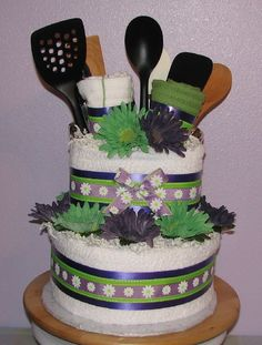 Kitchen-Towel-Cake (2).JPG - Purple & Lime Kitchen Towel Cake