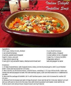 Italian Delight Tortellini Soup