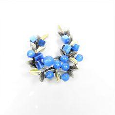 Broche azul con bolitas de cristal super ligero y moderno bonito para mujer chaqueta jersey o camisa - BisuteriaDeModa.es