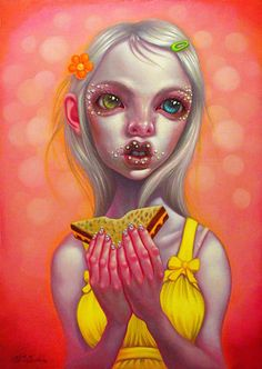"""Grilled Cheese On Rye"" - Young Chun, oil on canvas, 2012 {figurative #surreal fantasy art female eating sandwich girl painting} youngchun.com"