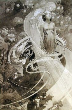 """page from Alphonse Mucha's 1899 """"Le Pater"""" series."""