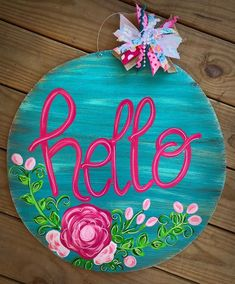 Excited to share this item from my shop: Floral hello Door Hanger, Round, hello, floral, summe Custom Door Hangers, Wooden Door Hangers, Painted Signs, Hand Painted, Painted Wood, Painted Rocks, Summer Porch Decor, Summer Door Decorations, Classic Doors
