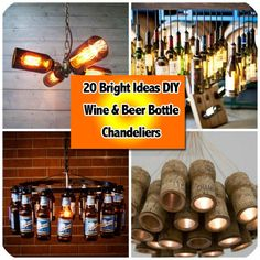 Looking for a great DIY home decor project? We've got a bright idea for you! Why not make a DIY wine or beer bottle chandelier. Most of us save our wine or beer bottles today to recycle, so its easy to put them aside for a craft project. Your family and friends will admire your handiwork when they see the creation you've made, all from bottles of wine or beer they've enjoyed with you.