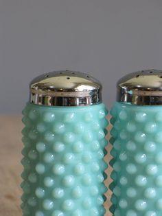 vintage turquoise milk glass hobnail salt & pepper