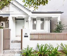 Queens Park House is the transformation of an existing semi-detached cottage in Sydney. Inside, the material palette and architecture explores the use of steel detailing as well as various natural hues and textures. Exterior Colors, Exterior Design, Gate Design, House Design, Modern Fence Design, Front Fence, Small Fence, Park Homes, Facade House