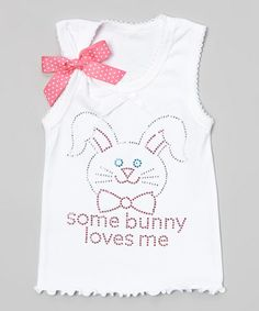 Ready Set Sparkle Couture White 'Some Bunny Loves Me' Tank - Toddler & Girls Easter Celebration, Toddler Girls, That Look, Bunny, Sparkle, Couture, My Love, Tank Tops, Celebrities