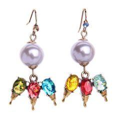 Pair of Faux Gem Pearl Drop Earrings
