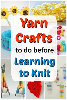 These yarn crafts for kids are great to do before teaching kids to knit to build dexterity and finger strength! Easy Yarn Crafts, Yarn Crafts For Kids, Preschool Arts And Crafts, Creative Activities For Kids, Easy Arts And Crafts, Kids Learning Activities, Crafts To Do, Teaching Kids, Time Activities