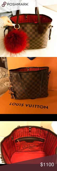 Authentic Louis Vuitton Neverfull PM & FREE base Authentic Louis Vuitton Neverfull PM in classic Damier Ebene. This is THE perfect winter bag! Gorgeous interior bright red now sought after Champs Elysees. Can be worn as is or the sides can cinch together for a more tailored look. Gold hardware, large interior pocket. Minor wear to bottom corners, minor wear to handles &leather trim, very minor wear to interior - No accessories included except the free base shaper which is used &has some…
