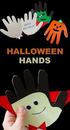 "Turn kids hand prints into adorable Halloween art and make ""SPOOKY HANDS"" | Halloween Crafts for Kids #halloween #halloweencrafts #handprintcraftsforkids #spookyhands #growingajeweledrose #activtiesforkids"