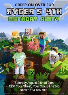 Minecraft Invitation, Minecraft Party, Mine Themed Invite Easy Minecraft Cake, Minecraft Party Decorations, Creeper Minecraft, Cool Minecraft Houses, Minecraft Pixel Art, Minecraft Crafts, Minecraft Skins, Minecraft Buildings, Minecraft Birthday Party