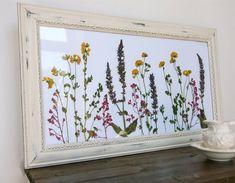Horizontal Dried Flower in Rustic White by PressedFlowerDesigns, $27.00
