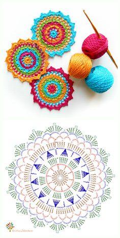 Motif Mandala Crochet, Crochet Coaster Pattern, Crochet Mandala Pattern, Crochet Circles, Crochet Square Patterns, Crochet Flower Patterns, Crochet Diagram, Crochet Round, Crochet Chart