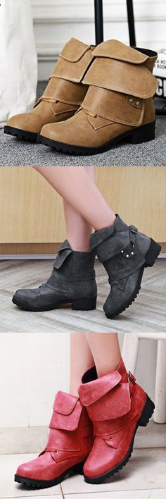 39c4290d1fccbe Folding Vamp Design Retro Elegant Comfortable Lace Up Boots For Women is hot-sale.  Come to NewChic to buy womens boots online.