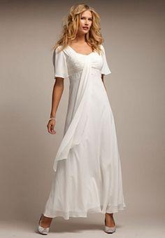 Flutter sleeve empire waist gown