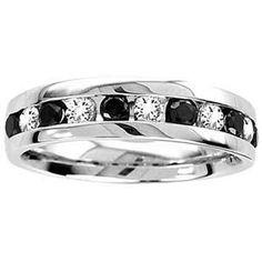 1/2 Carat Black & White Diamond 14k White Gold Men's Wedding Ring -- just an idea