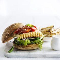 VE07 HALOUMI BURGER CELERIAC WEDGES-711 (1) (002) Celeriac, Halloumi, Hamburgers, Salmon Burgers, Wedges, Chicken, Ethnic Recipes, Food, Zucchini