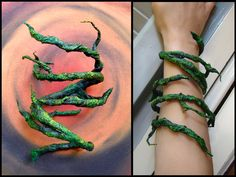 Tree-branch bracelet = this would be great for a Poison Ivy costume! Make this bracelet with wire and very thin birch bark hardened with a textile hardener liquid material; paint with acrylic colors. Cosplay Tutorial, Cosplay Diy, Halloween Cosplay, Halloween Makeup, Viking Cosplay, Couple Halloween, Halloween Costumes, Poison Ivy Cosplay, Poison Ivy Costumes