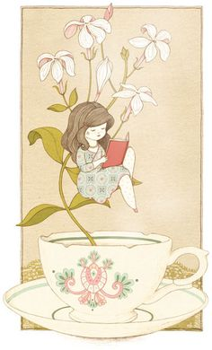 Relax: té de jazmín y lectura (ilustración de Mamzelle Roüge)