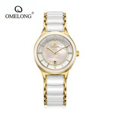 US $74.31 - New Arrival Omelong Iridescence Fritillaria Women Watch White Ceramic Watchbands Wristwatch Dress Ladies Hour relogio feminino