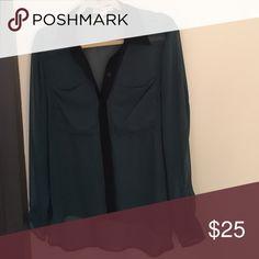 BCBG sheer blouse Emerald green with black trim BCBGeneration Tops Blouses