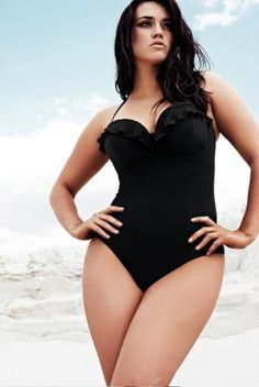 Gorgeous Curvy Plus Size Model Laura Wells isn't so plus size to me! Cute swimsuit too!