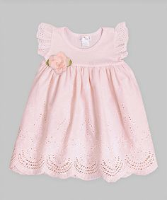 Look what I found on #zulily! Soft Coral & Bleached Apricot Eyelet Angel-Sleeve Dress - Infant by Truffles Kids #zulilyfinds