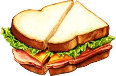 'Ham Sandwich Pattern' Sticker by Kelly Gilleran Sandwich Drawing, Cute Food Art, Food Sketch, Watercolor Food, Food Stickers, Food Wallpaper, Food Drawing, Food Illustrations, Sandwiches