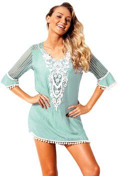 4f0f0739b2 Comfortable Crochet Pom Pom Trim Beach Tunic Cover up - Frockin It Beach  Skirt