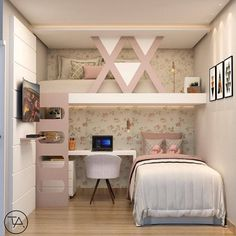 White room: 60 ideas and projects that can inspire you - Home Fashion Trend Cute Bedroom Ideas, Cute Room Decor, Girl Bedroom Designs, Awesome Bedrooms, Cool Rooms, Dream Rooms, Dream Bedroom, Small Room Bedroom, Bedroom Decor
