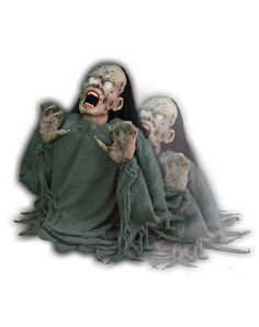 It's alive! The Jumping Zombie animated prop rises and lowers in a never-ending chain of gruesome grave-taunting afterlife. Eyes aglow, moth agape and fingers clawing for some form of life - perhaps you! Bring the Halloween party to life with this creepy Jumping Zombie animated decoration.