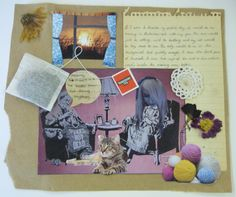 The Perfect Day Collage - Esen Demirci inspired - Emily Watts Cat, Old Lady, Gran, Knitting, Crochet, Yarn, Cup Of Tea, Tea Bag, Pressed Flowers
