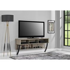 Altra Asher Sonoma Oak Wall-Mounted 65-inch TV Stand | Overstock.com Shopping - The Best Deals on Entertainment Centers