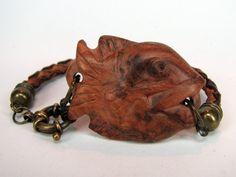 Wood bracelet wood jewelry leather bracelet fish by EnebrOso