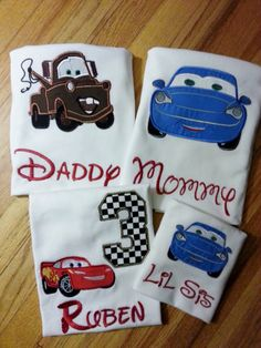 Tow Mater Lightning McQueen Sally Family Cars Disney Shirt Birthday Number Embroidery(Personalizing Included) Race Track (One Shirt Listing)