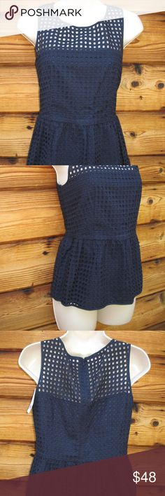 "NWT Banana Republic Top Banana Republic 100% Cotton Box Eyelet Peplum Top , size 2, New with Tags  Details: Banana Republic Size: 2 Color: Navy Blue 100% Cotton   Measurements: Length: 23"" Bust: 32"" Waist: 28"" Banana Republic Tops Blouses"