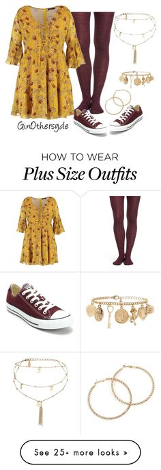 """""""Curvy Woman - Plus Size"""" by ginothersyde on Polyvore featuring Smartwool, Converse, Boohoo, Ettika, Forever 21 and 460"""